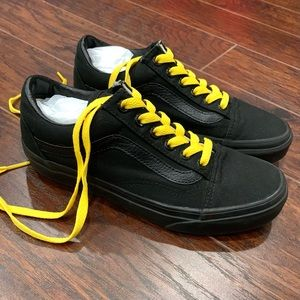 VANS Black Sneakers with Yellow Laces